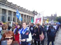 JCS on The Mound at Yes Scotland march in Edinburgh. Sep 2012