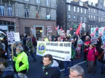 JCS One Ireland One Vote banner on the Gaza demo in Edinburgh. Nov 2012