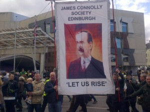The James Connolly Society banner outside the Scottish Parliament.