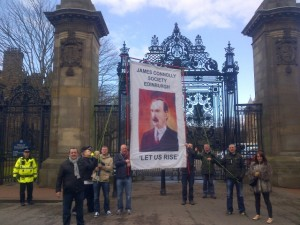 The James Connolly Society at Holyroodhouse reminding Betty Battenburg that Edinburgh is James Connolly's city.