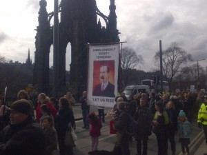 James Connolly Society passing the Scott Monument.