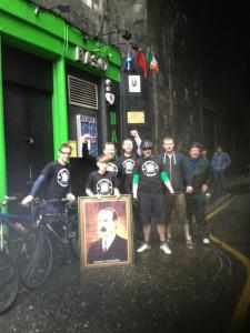 At Connolly's birthplace after completing the Connolly Cycle Challenge 2013.
